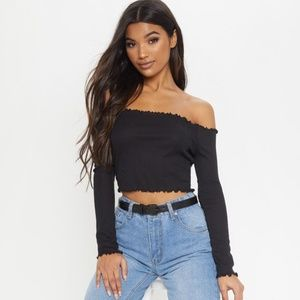 Prettylittlething Frill Edge Ribbed Crop Top Shirt